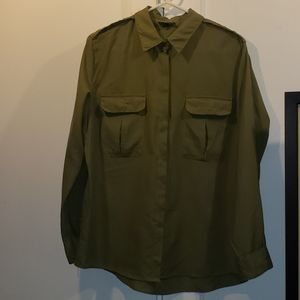 Olive Green Topshop Button Down Shirt